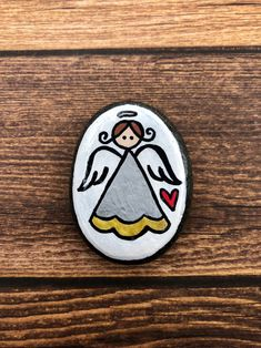 Hand Painted Rocks, Painted Stones, Easy Drawings For Kids, First Communion Gifts, Atc Cards, Rock Painting Designs, Guardian Angels, God Loves You, Stone Heart