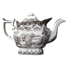 Davenport Teapot, Turkish Archer Pattern, AS-IS, Antique 19th C from owensantiques on Ruby Lane