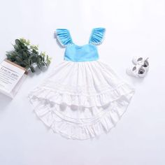 This beautiful Blue Belle Dress makes me think of the English countryside. With its full skirt, I can just imagine many twirls and smiles. Belle Dress, New Chic, Anti Wrinkle, Dress Making, Baby Kids, Kids Outfits, Patches, Flower Girl Dresses, English Countryside