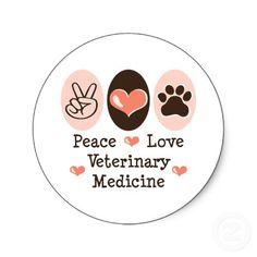 Peace Love Veterinary Medicine Stickers 20 Pk