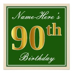 Elegant Green Faux Gold 90th Birthday  Name Card - invitations custom unique diy personalize occasions