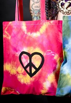 Tie dye tote bag with peace and love heart
