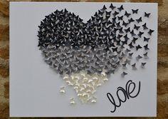 Esta obra de arte se compone de las mariposas del handcut, aterrizaje de vuelo para formar este corazón romántico.  Cada mariposa es handcut solito y atado a mano a la lona. Las mariposas miden 1 pulgada, los colores son crema que mosca en gris y luego en blanco y negro brillo.  Las ilustraciones complementan cualquier habitación de tu casa.  El lienzo mide 18 x 14 pulgadas.  Si desea una imagen a medida con sus colores, opción de mariposa tamaño o uno personalizado para un regalo por favor…