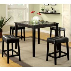 Shelby Faux Marble Top Counter Height Dining Table Set
