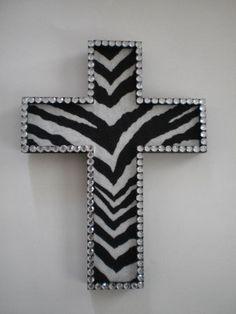 Zebra print. Bling Cross<3
