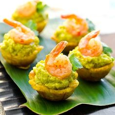 Fancy Party Appetizers: Plantain cups with avocado and shrimp