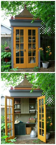 Potting shed resembling a charming old phone booth with a pagoda top. Great for garden tools. Love this!