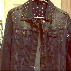 F21 studded Jean jacket sz large Pre loved but in great condition Forever 21 Jackets & Coats Jean Jackets