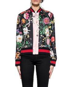 GUCCI Floral Printed Silk Twill Bomber Jacket, Multicolor