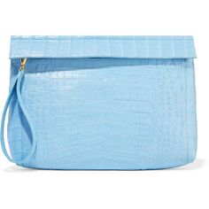 Nancy Gonzalez Crocodile clutch (9.475 BRL) ❤ liked on Polyvore featuring bags, handbags, clutches, light blue, blue purse, light blue handbags, nancy gonzalez handbags, croco handbags and strap purse