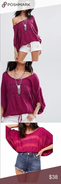 d22e4e485eee38 NWT! FREE PEOPLE KIMONO SLEEVE TOP! SIZE XS Flirty plum color pullover top  with