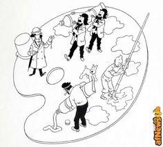 Tintin di Hergé: 108.000 euro per questa illustrazione in bianco e nero da colorare? - http://www.afnews.info/wordpress/2016/06/08/tintin-di-herge-108-000-euro-per-questa-illustrazione-da-colorare/