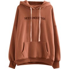 Oversized Drawstring Letter Embroidered Hoodie Coffee Brown (429.020 IDR) ❤ liked on Polyvore featuring tops, hoodies, drawstring hoodie, sweatshirt hoodies, embroidered top, oversized hoodies and brown top