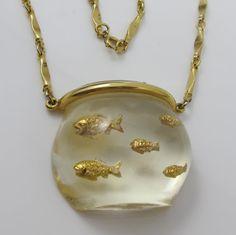Vintage Castlecliff Fish Bowl Necklace Lucite by TonettesTreasures