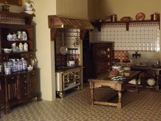 Late Victorian English Manor Dollhouse: Miniature from Scratch: April 2012 Images on the site are a nice size so you can see the details better. Vitrine Miniature, Miniature Rooms, Miniature Kitchen, Miniature Houses, Miniature Furniture, Mini Kitchen, Kitchen Pantry, Barbie Furniture, Home Furniture