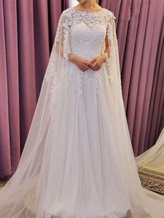 Scoop Neck Lace Beading Court Train A-Line Wedding Dress & unusual Wedding Dresses
