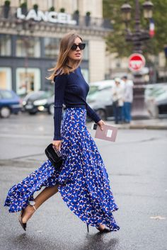 flowy blue skirt on a rainy day