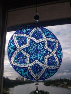 mandala vitral - 06 mandala vidro 3mm pintura vitral