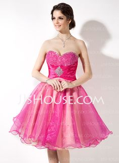 Empire Sweetheart Knee-Length Organza Charmeuse Homecoming Dress With Ruffle Beading Sequins (022021143)