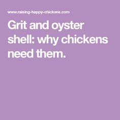 Grit and oyster shell: why chickens need them.