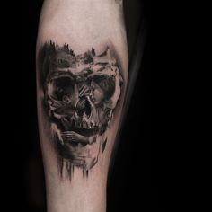 crazy double exposure tattoo by Niki Norberg