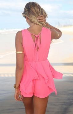Deep V-neck Sleeveless Beach Jumpsuit