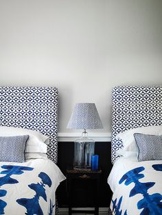 Never under-estimate the power of a headboard to transform a bedroom. For a wide selection of headboard ideas, shapes and fabrics look at Loaf and Neptune Decor, Headboard Styles, Interior, Blue Bedroom, Bedroom Decor, Bedroom Diy, Trending Decor, Home Decor, Upholstered Headboard