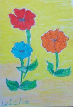 Flowers in #oilpastels age-6+