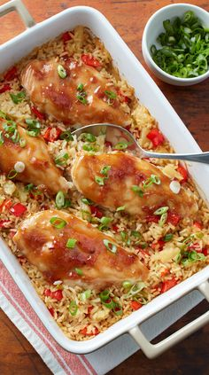 Traditional chicken and rice casserole gets a sweet-and-savory tropical twist with teriyaki-glazed chicken and juicy pineapple rice. Short on time? Swap in store-bought teriyaki sauce!