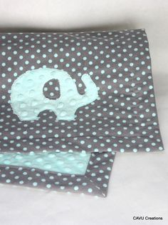 Tiffany Blue & Gray Minky Baby Blanket with Sweet Elephant Applique by CAVUcreations, $39.50