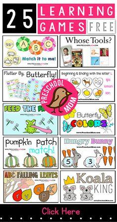 25 Free Learning Games for Kids http://preschoolmom.com/FolderGames
