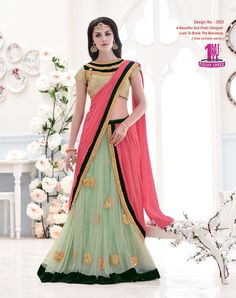 This delightful diva accoutre features unique styling and unusual material. Add grace and charm to your appearance in this beautiful pink and sea green lycra and net lehenga saree. Look ravishing clad in this attire which is enhanced embroidered and patch border work. Comes with matching blouse. (slight variation in color, fabric & work is possible. Model images are only representative.) #bridal #bridallehengasaee #divine #divineboutique…