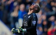 Kasper Schmeichel celebrates after Leicester City's first goal