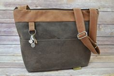 Baby Bag in Vegan Leather - Waxed Canvas!  Diaper & nappy sack by Darby Mack  Brown and Cinnamon, made in USA, Waterproof by DarbyMack on Etsy https://www.etsy.com/listing/252942511/baby-bag-in-vegan-leather-waxed-canvas