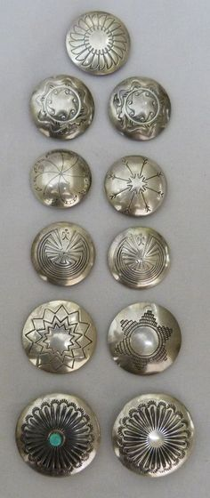 VTG NAVAJO NATIVE INDIAN STERLING SILVER CONCHO STYLE BUTTON COVERS SET OF 11 Silver Jewellery Indian, Navajo Jewelry, Silver Jewelry, Silver Ring, Silver Earrings, Hammered Silver, 925 Silver, Silver Belts, Silver Bracelets