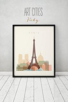 Paris print, Poster, Wall art, France cityscape, Paris skyline, City poster, Typography art, Gift, Home Decor Digital Print ART PRINTS VICKY