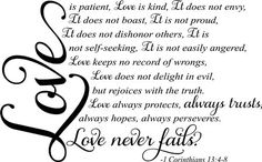 Loev is patient love is kind wall decal religious scripture quote