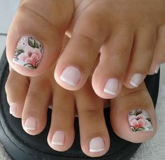 French pedicure with accent floral nail art. French pedicure with accent floral nail art. Pink Toe Nails, Pretty Toe Nails, Cute Toe Nails, Feet Nails, Toe Nail Art, My Nails, Flower Toe Nails, Acrylic Toe Nails, Nail Art Designs