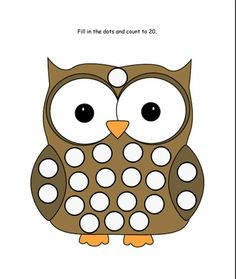 owl - These drawings serve to work fine motor skills. Blank spaces can be filled with plasticine, with paper balls, with gomets, with colored cotton, etc. Preschool Worksheets, Preschool Learning, Preschool Activities, Sticker Chart, Lacing Cards, Do A Dot, Paper Balls, Tot School, Dot Painting