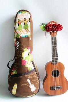 Soprano ukulele case &ribbon leiReady to ship / hula by ukuhappy