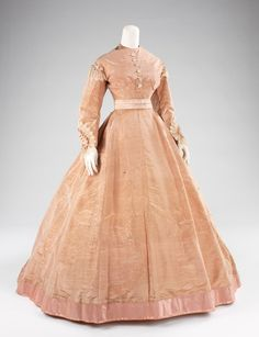 Evening dress, c.1865.  Culture: American  Medium: silk, mother-of-pearl