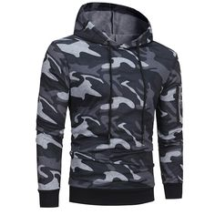 70d7887ba8c Mens  Long Sleeve Camouflage Hoodie Hooded Sweatshirt Tops Jacket Coat  Outwear