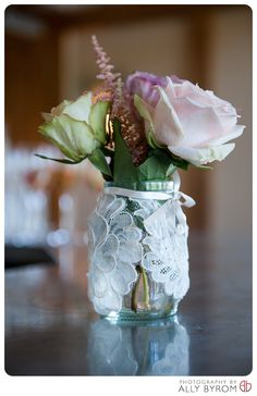 Vintage lace jam jar with roses and ribbon detail