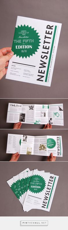 Leeds College of Art Newsletter via Behance Newsletter produced for Leeds College of Art Marketing Department to promote college to prospective students and career advisors at UCAS fairs. Collaboration with Chloe Galea. Quantity of 4,500 printed.