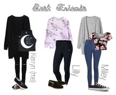 """Best Friends <3"" by skyegraham ❤ liked on Polyvore featuring NIKE, TOMS, Topshop, Converse and Vans"