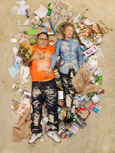 The Family photographed as part of a series with 'People Lying in 7-days worth of their trash', by Gregg Segal.