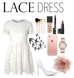 """""""#lacedress -r"""" by j-and-r ❤ liked on Polyvore featuring Glamorous, Forever 21, NARS Cosmetics, Clinique, ADZif, Marc by Marc Jacobs, Accessorize, dress, lace and lacedress"""