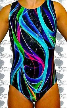 Holographic Blue Abstract Gymnastics Leotard with Free Scrunchie
