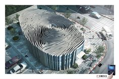 The Fingerprint Secure Office Building - an ad for D-Station security systems