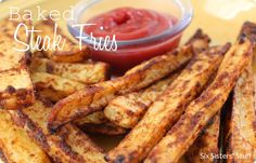 Baked Seasoned Steak Fries from sixsistersstuff.com.  Taste as good as restaurant fries, but with a lot less guilt! #recipes #fries